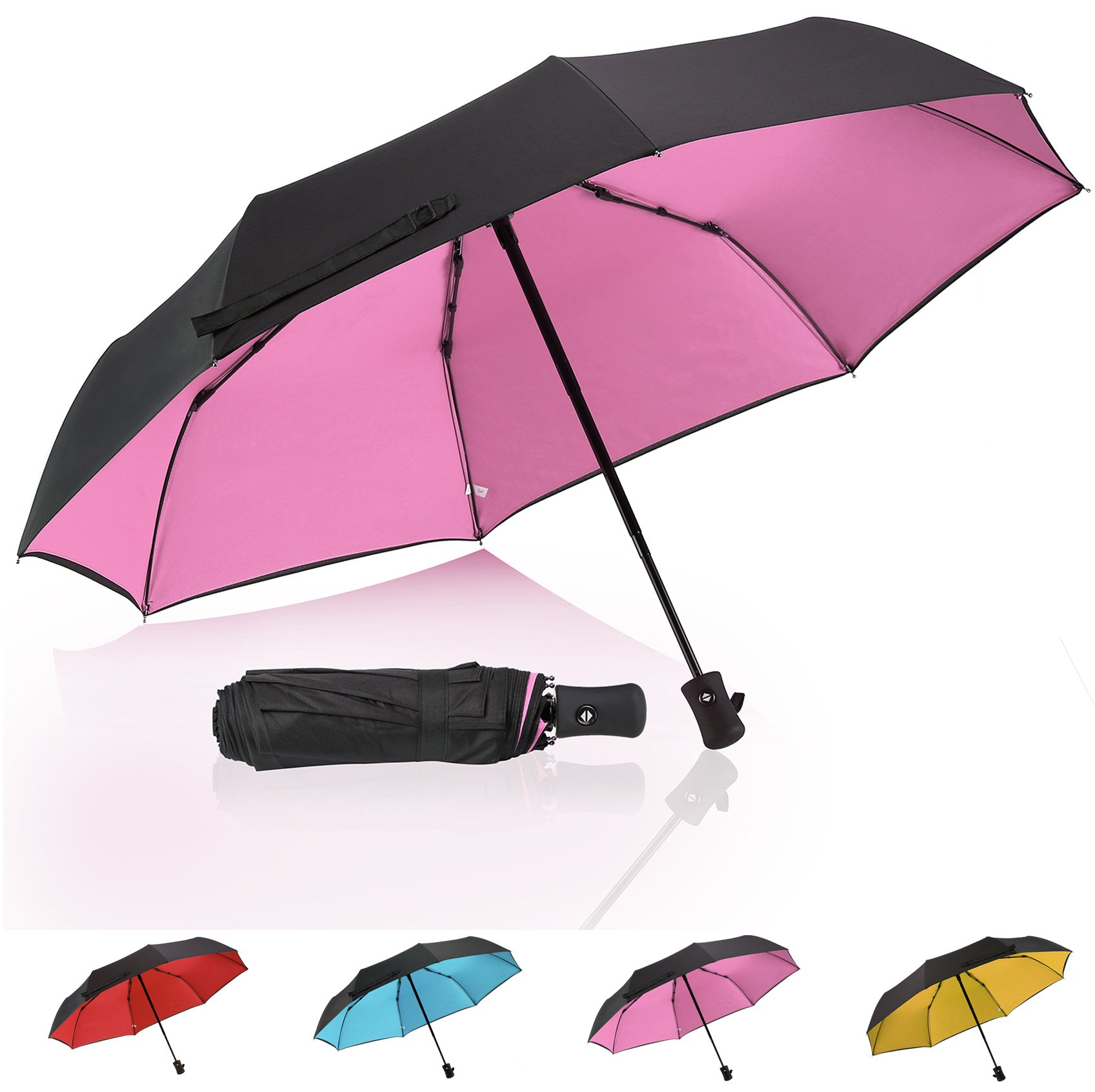 Windproof Umbrella Auto Open Close Folded Umbrella Double Canopy Vented Waterproof Umbrella Compact Pink umbrella - by QH