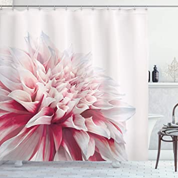 Amazon Com Ambesonne Dahlia Shower Curtain Close Up Dahlia Blossom With Red And White Petals One Single Large Flower Cloth Fabric Bathroom Decor Set With Hooks 84 Long Extra Ruby Ivory White Home
