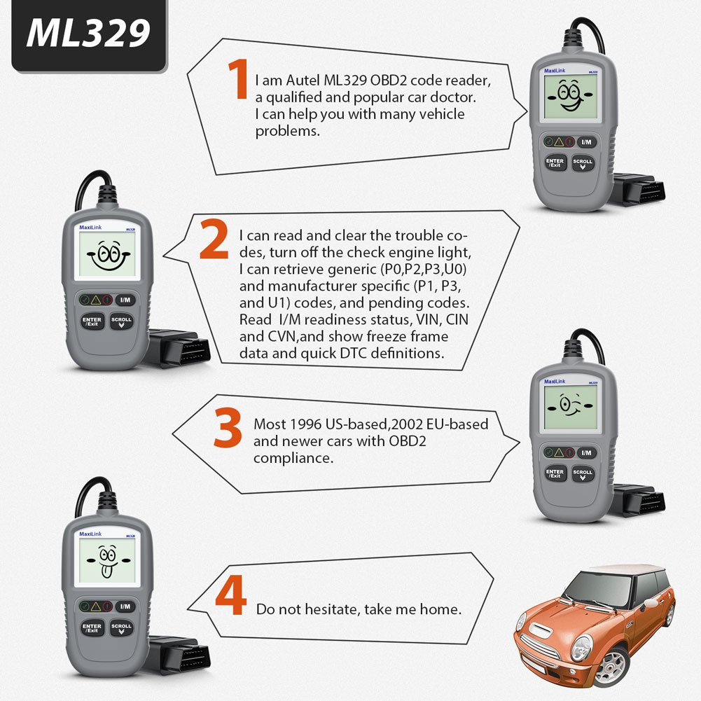 Autel Maxilink ML329 Auto Code Reader OBD II and CAN Scanner Diagnostic Scan Tool