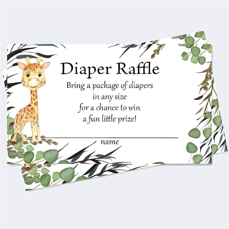 Set of 50 Safari Leaf Baby Shower Supplies Boys Tropical Baby Shower Raffle Game Boys Tropical Safari Leaf Baby Shower Diaper Raffle Tickets