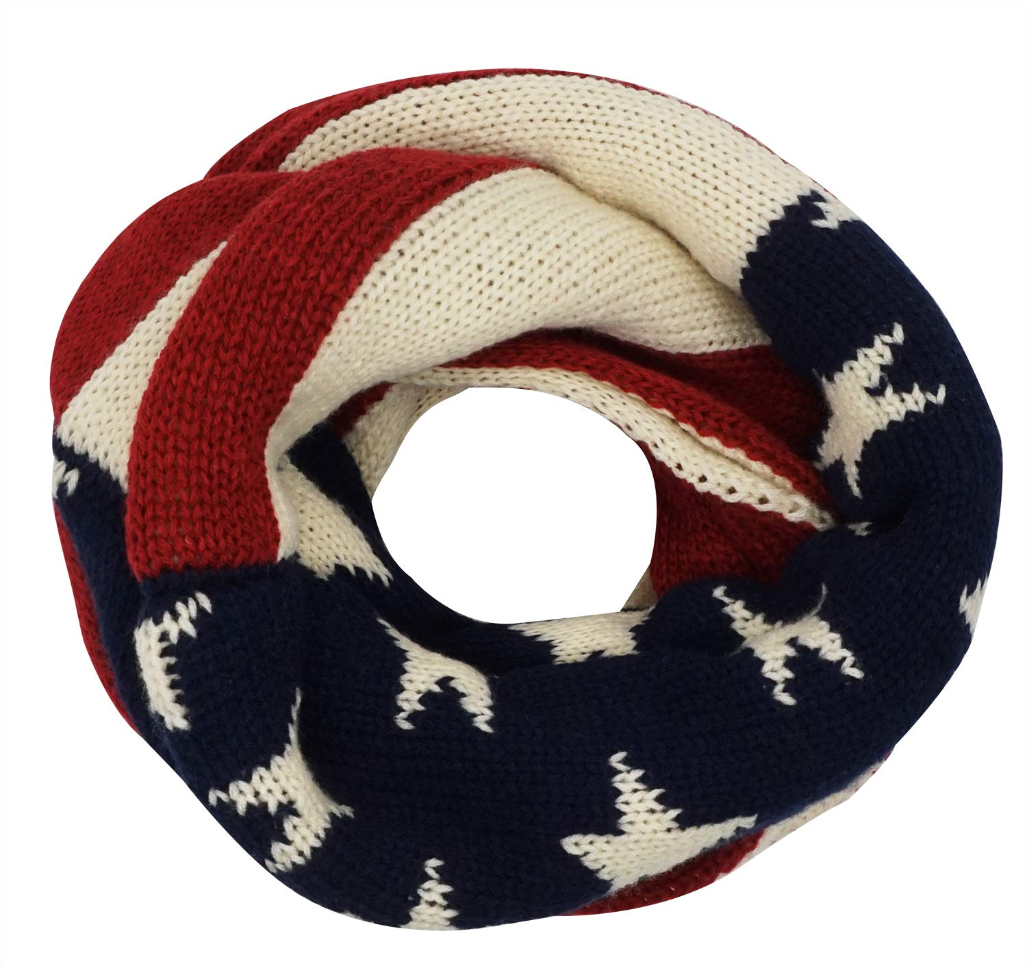 Unisex Thick Warm US American Flag Winter Knit Infinity Circle Scarf ZXG00002141