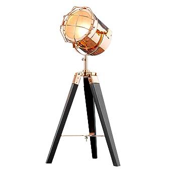 Vintage Stehleuchte TRIPOD Schwarz Kupfer 65 Cm E14 Tischlampe Wohnzimmerlampe Stehlampe