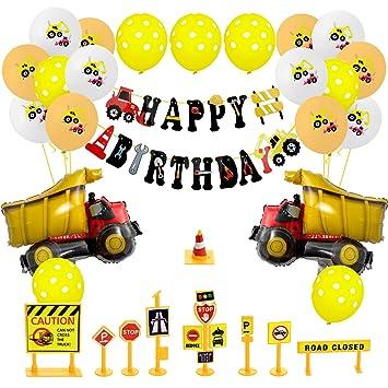 Joeyer Decoraciones Cumpleaños, Globos de Cumpleaños de la Excavadora Feliz Cumpleaños Banners Camión Construcción Suministros Cake Toppers ...