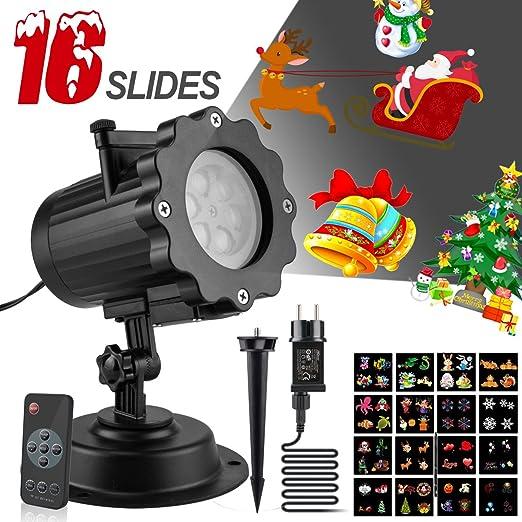 Proiettore Luci Di Natale Amazon.Corki Versione Aggiornata Proiettore Luci Di Natale Led Con 16 Forme