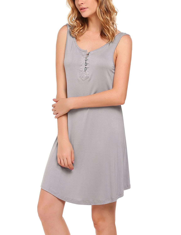 0cee087a21 Ekouaer Nightgown Women s Henley Sleeveless Sleep Shirt Button Down  Nightshirt Sleepwear for Breastfeeding S-XXL. 4.4 out of ...