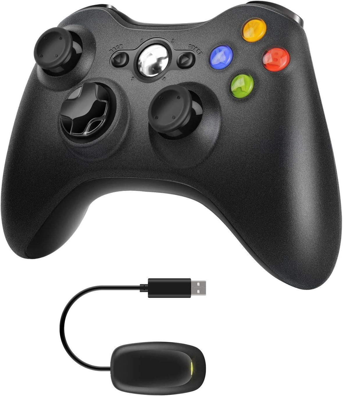 Molyhood Controlador de juego inalámbrico 2.4 G de diseño ergonómico mejorado con doble vibración para Microsoft Xbox y Slim 360 PC Windows 7,8,10 Negro