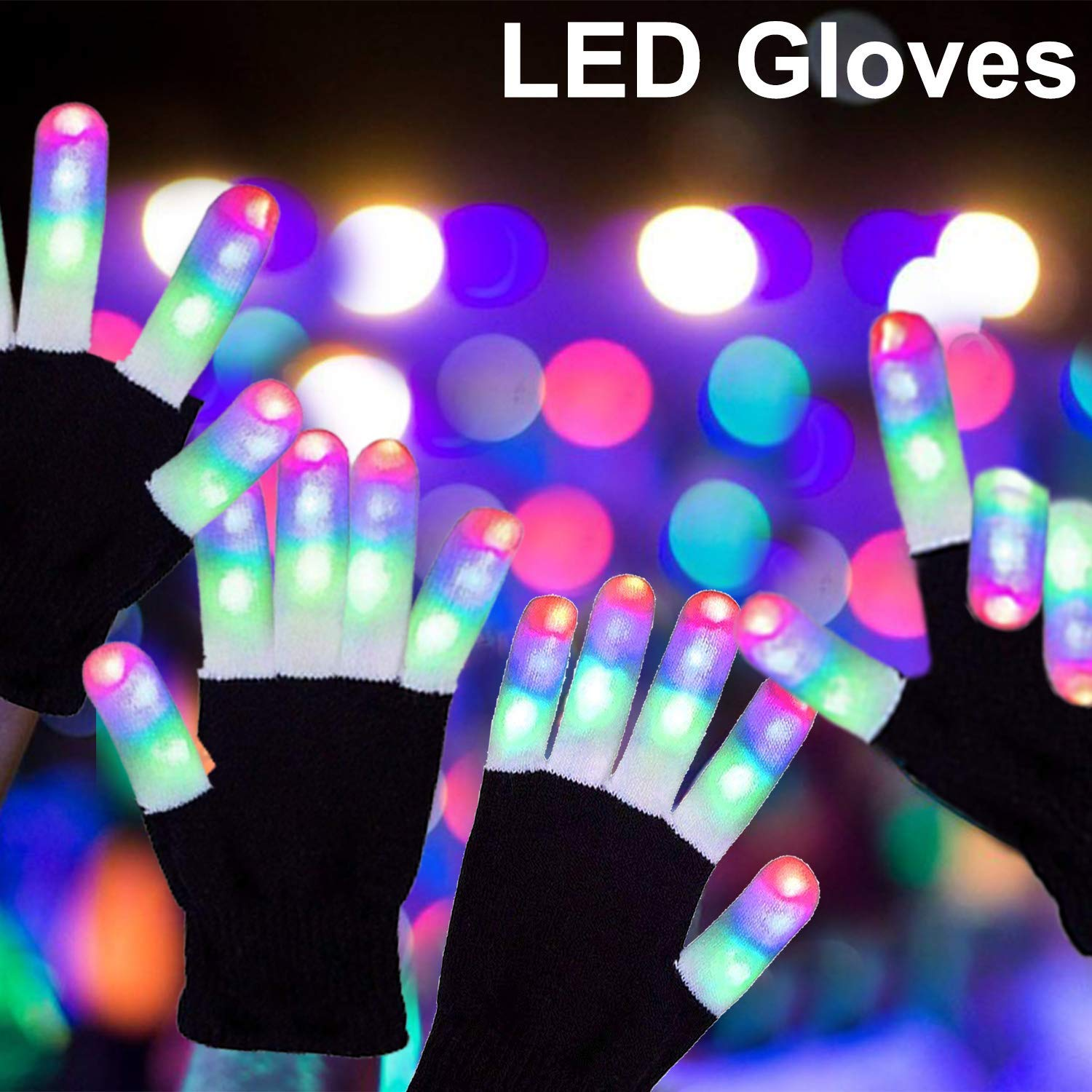 3 Pack LED Gloves Light up Gloves Toys for Boys Christmas Xmas Birthday