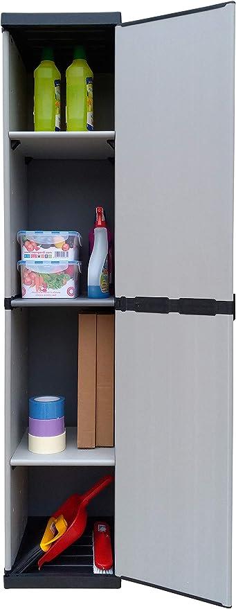 Adventa - Armario de resina de 1 puerta con estantes regulables (interior/ exterior), gris negro, 34 x 39,5 x 168 cm: Amazon.es: Hogar