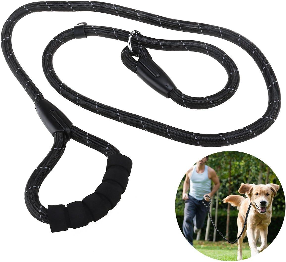 UEETEK Collar Antideslizante Cuello de Estrangulación P-Correa Reflexivo Durable Entrenamiento Cuerda Esponja Control de la Manija para Correr Pasear Senderismo