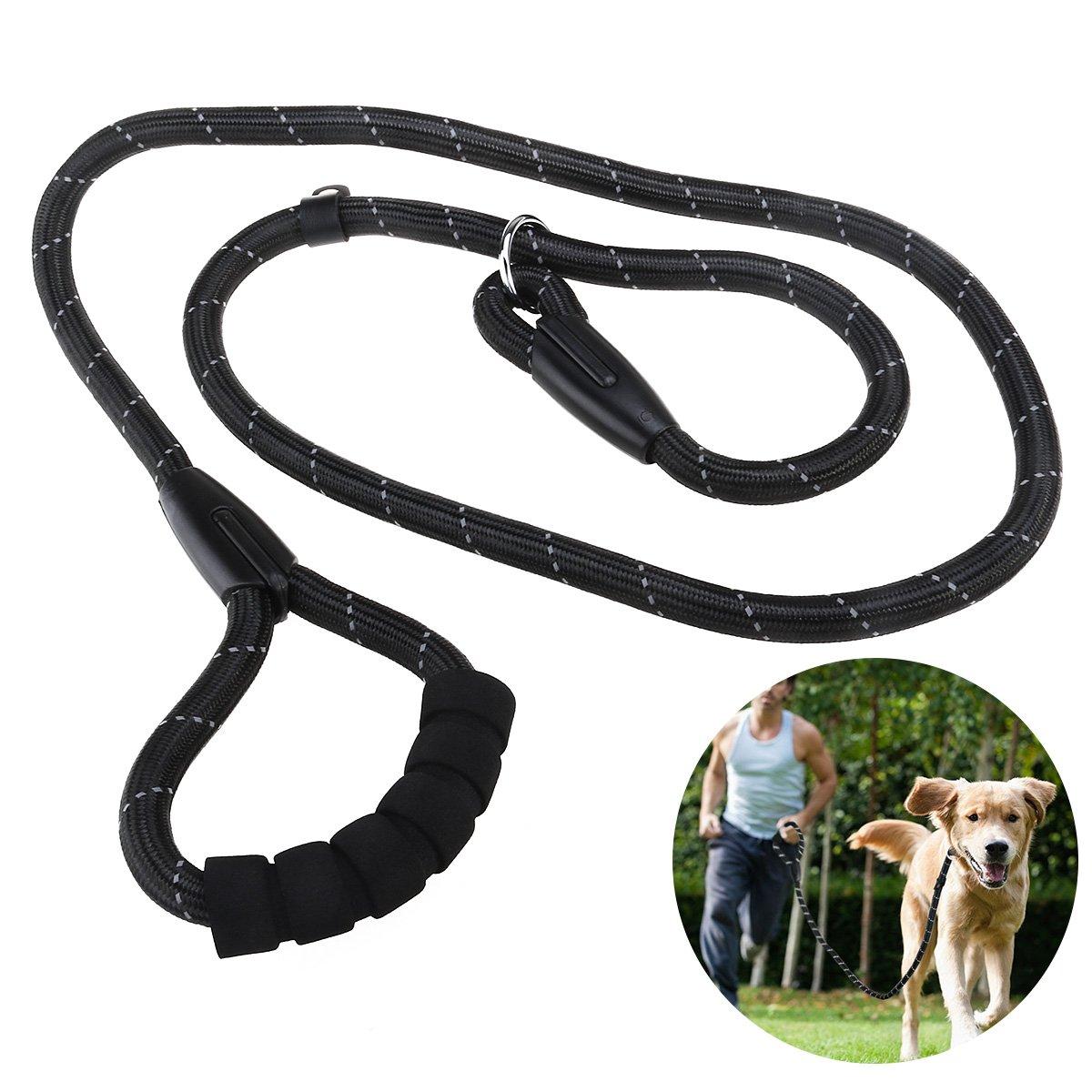 UEETEK Dog Slip Collar Choke Leash P-Leash Reflective Durable Training Rope Sponge Handle Control for Running Walking Hiking