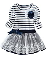 Jastore Little Girls' Dress Cute Striped Flower Long Sleeve Princess Dresses