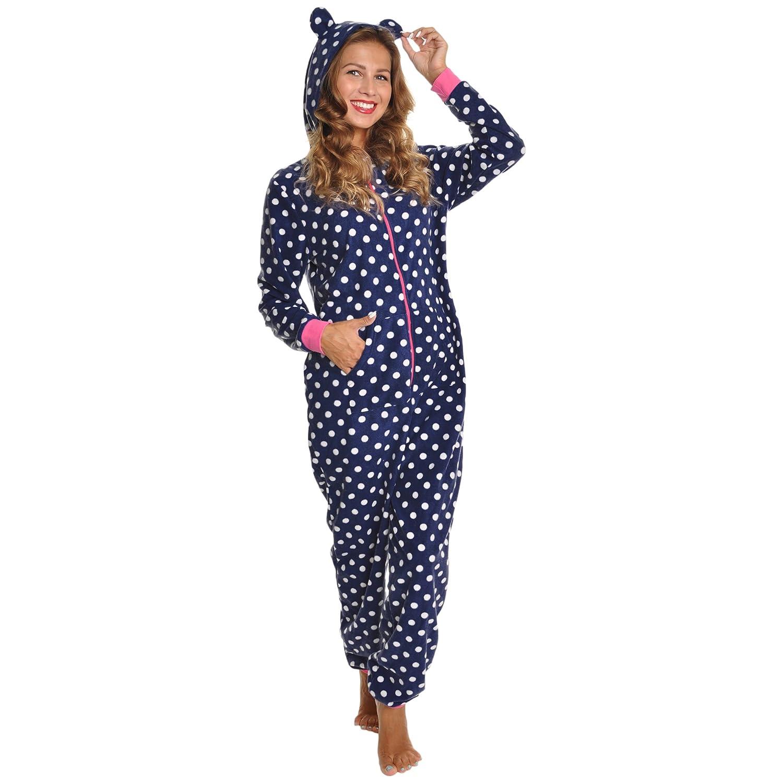 Angelina Women's Fleece Novelty One-Piece Hooded Pajamas