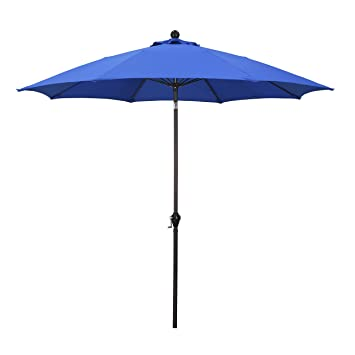 California Umbrella 9u0027 Round Aluminum Pole Fiberglass Rib Umbrella, Crank  Open, Push Button