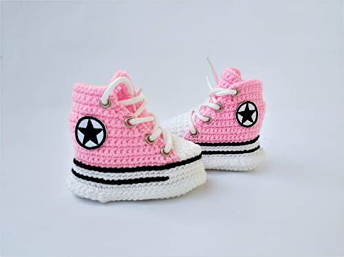 9a686acf8b3c Amazon.com  First Star Infant Girl High Top Pink Crochet Soft Slippers  Sneakers Baby Shower Newborn Shoes Gift  Handmade
