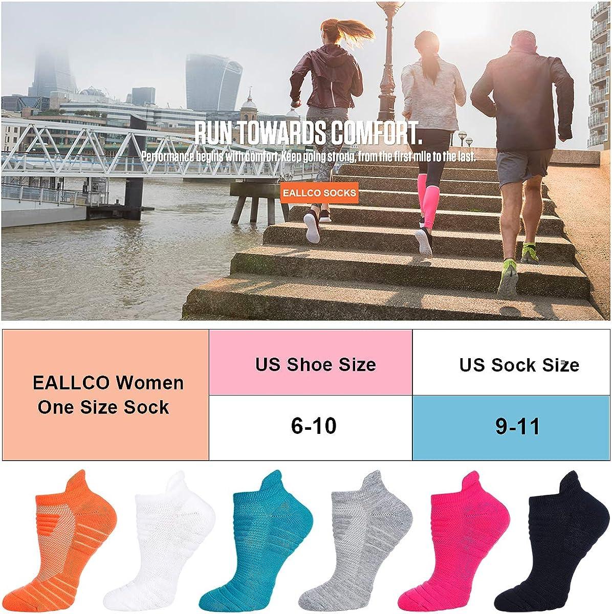 Eallco Men//Women Athletic Running Cushioned Socks 3//6 Pairs