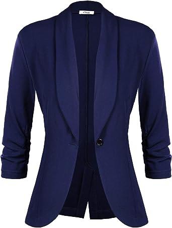 iClosam Veste Femme Blazer Chic De Costume Casual Slim Tailleur À Manches 34 Un Bouton