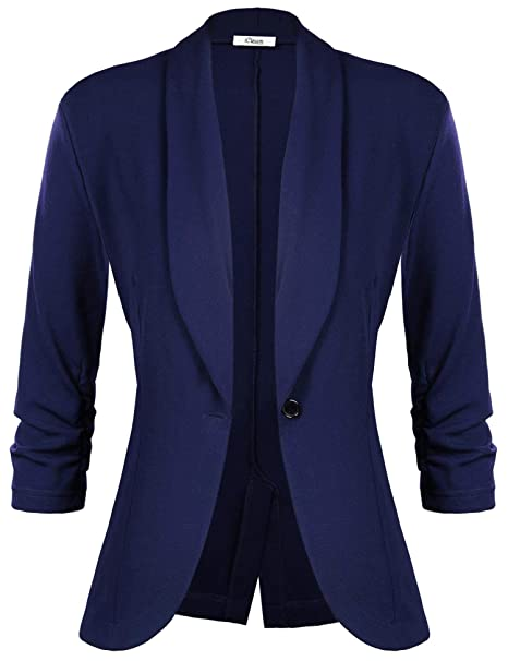 iClosam Ladies Blazer Summer 3/4 Mangas Elegante Superior Oficina Traje de Chaqueta Outwear Casual