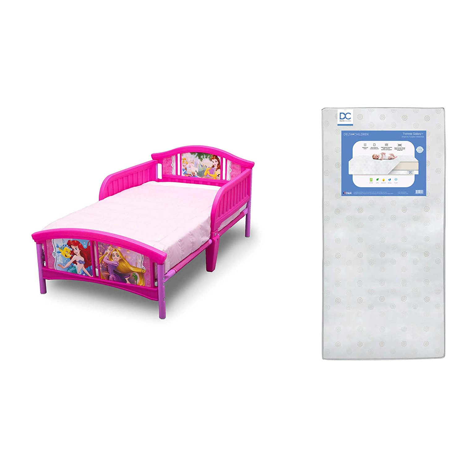 Delta Children Plastic Toddler Bed, Disney Princess + Delta Children Twinkle Galaxy Dual Sided Recycled Fiber Core Toddler Mattress (Bundle)
