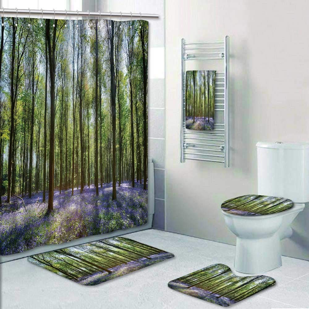 Philip-home 5 Piece Banded Shower Curtain Set Bluebells in Wepham Woods Pattern Printing Suit