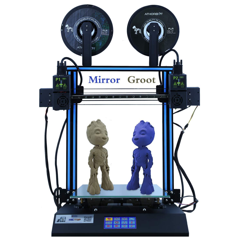 HICTOP IDEX D3 Hero Impresora 3D de extrusora Dual Independiente, Pantalla táctil LCD de 4.3 Pulgadas Eje Dual Z de Escritorio 300x300x350mm