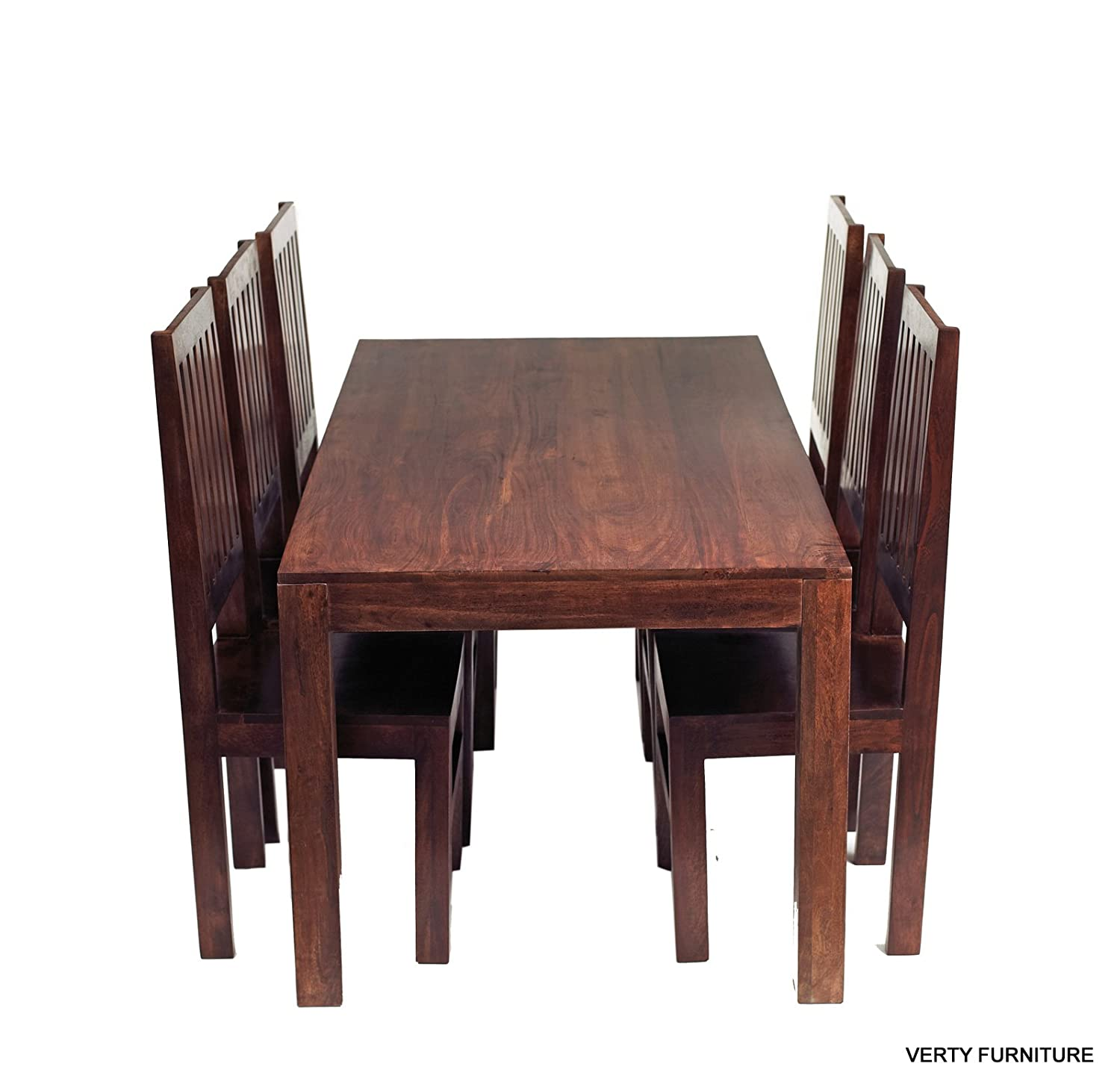Solid Mango Dakota Dining Table 6ft 1 8m with 6 Wooden Chairs