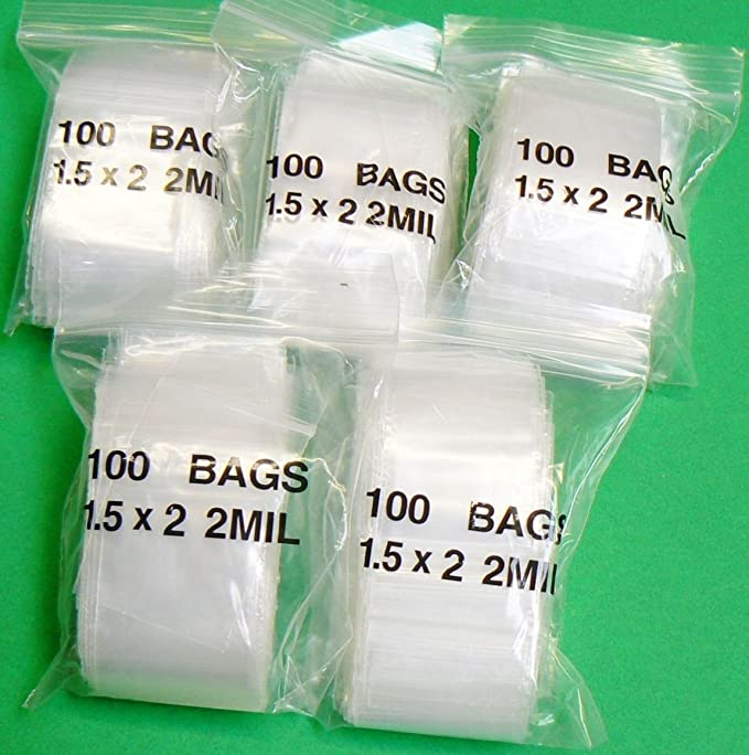 """500 Small GL2 2.25/"""" x 3/"""" Clear Grip Self Press Seal Zip Lock Plastic Bags"""