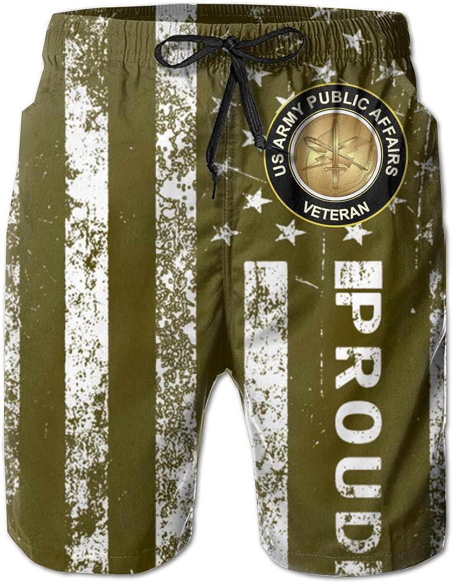 SUNSUNNY US Army Veteran Public Affairs Mens Boardshorts Swim Trunks Beach Athletic Shorts