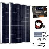 eco-worthy 200W 12V/24V OFF Grille Kits–Lot de 2panneaux solaires 100W polycristallin Panneau solaire + batterie 20A Régulateur de charge Contrôleur intelligent pour système de charge 12V ou 24V dans la maison voiture bateau caravane
