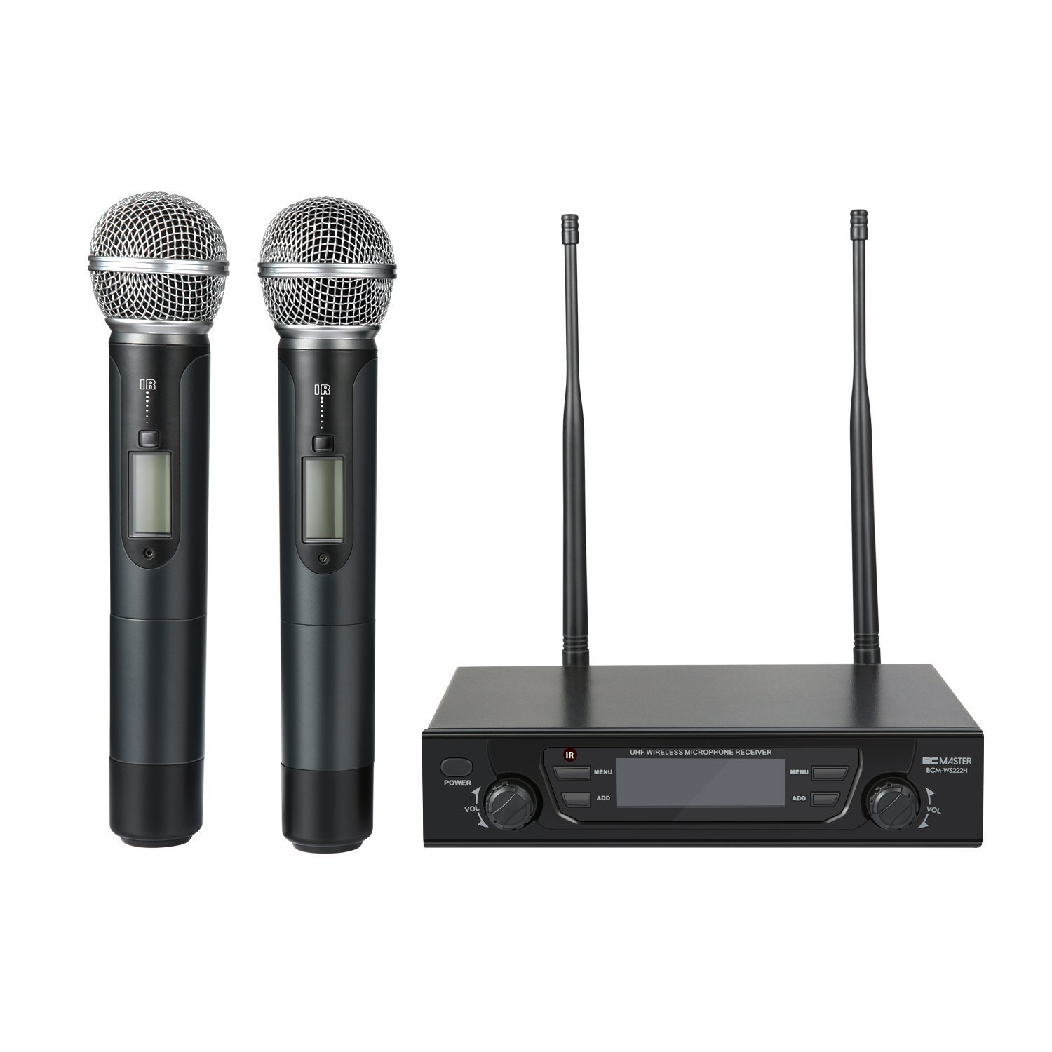 BC Master Wireless Microphone Dual Channel UHF System with Selectable Frequencies Prevent Interference, Christmas gift for Family Party, Church, Small Karaoke club ecc (Range:190-260Ft)