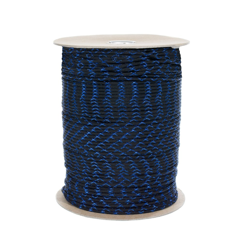 and DIY Crafting Craft County 550 Paracord with Metallic Glitter Tracers for Gift Wrap Blue, 50 Pack Holiday Decoration