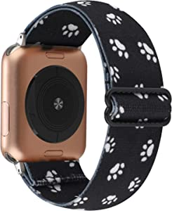 YOSWAN Stretchy Nylon Solo Loop Strap Compatible with Apple Watch Band 38/40mm Soft Breathable Adjustable Elastic Wristband for iWatch SE Series 6 5 4 3 2 1 (Black Dog Paw Print, 38mm / 40mm)