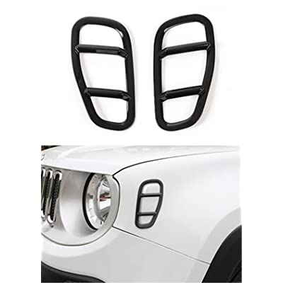 Black ABS Car Front Side Fender Light Lamp Cover Trim for Jeep Renegade 2015 Up: Beauty