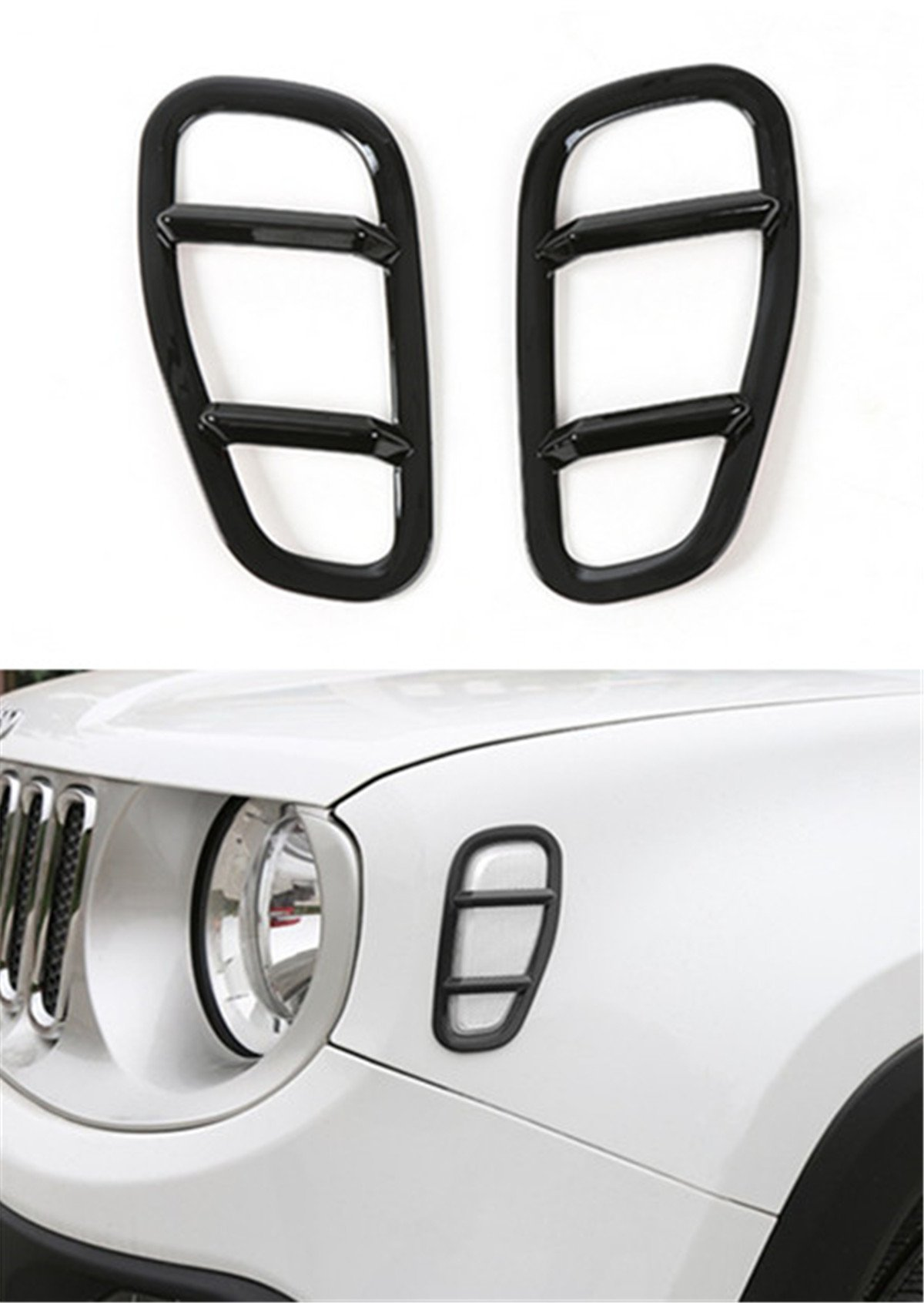 Dwindish Black ABS Car Front Side Fender Light Lamp Cover Trim for Jeep Renegade 2015 Up
