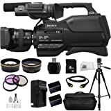 Sony HXR-MC2500E HXRMC2500E Shoulder Mount AVCHD Camcorder with 3-Inch LCD (Black) (PAL) + Huge SSE Accessories Bundle Including .43x Wide Angle Lens, 2.2x Telephoto Lens + More
