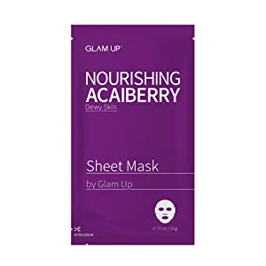 Sheet mask by glam up BTS Nourishing Acaiberry - Tighten, Firm Tired Skin. Regeneration Nature made Freshly packed Daily Skin Therapy Original K-Beauty Recipe 1ea