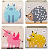 3 Sprouts Large 13 Inch Square Children's Foldable Fabric Storage Cube Organizer Box Toy Bin, Blue Cat, Pet Hedgehog, Pink Un