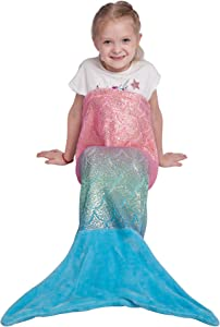 Softan Kids Mermaid Tail Blanket,Plush Soft Flannel Fleece All Seasons Sleeping Blanket Bag,Rainbow Ombre Glittering Fish Scale Design Snuggle Blanket,Best Gifts for Girls,17