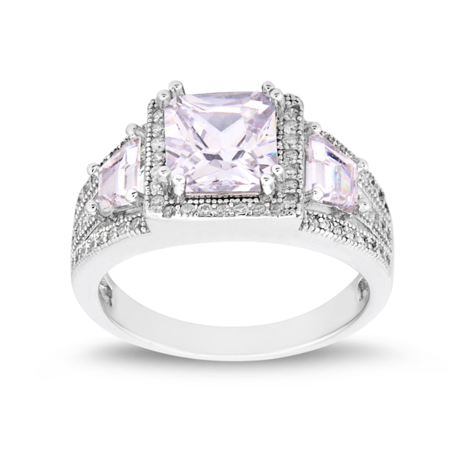 MESMER Rhodium Plated Vintage Style Square Cut CZ Wedding Engagement Rings