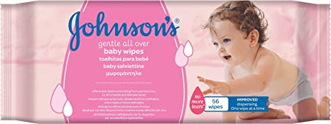 Total 336 Pack of 6 Johnsons Baby Gentle All Over Wipes