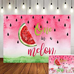 Watermelon Style One in a Melon Backdrop Kids Happy Birthday Party Banner Watercolor Summer Fruit Photography Background for Girls Pictures Cake Table Decor Photo Booth Studio Props 5x3ft