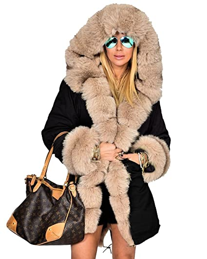 Manteau capuche fourrure femme luxe