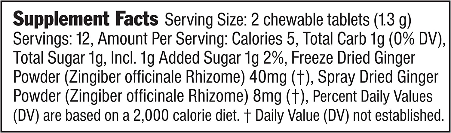 The Ginger People Ginger Rescue Strong Chewable Ginger Tablets, 5.5 Ounce, Pack of 10: Health & Personal Care