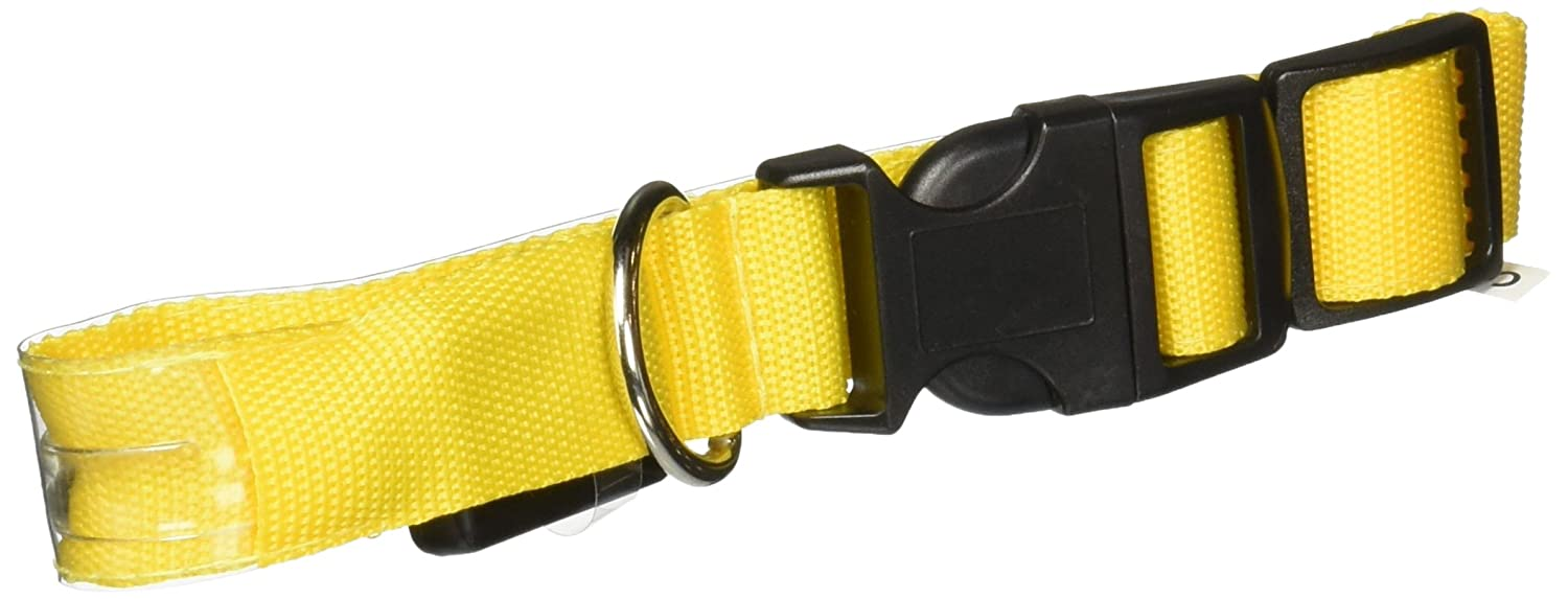 Paws & Pals LED Pet Neck Collar Flashing color Light Up Night Safety Strap, Small, Yellow