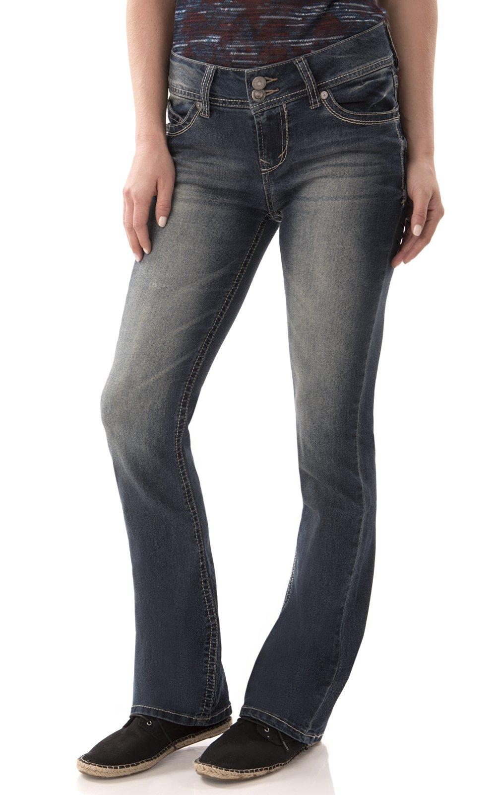 WallFlower Juniors Luscious Curvy Short Inseam Basic Bootcut Jeans in Katy Size:0 Short