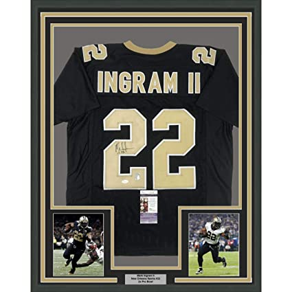 e15690336 Image Unavailable. Image not available for. Color  Framed Autographed Signed  Mark Ingram II 33x42 New Orleans Black Football Jersey ...