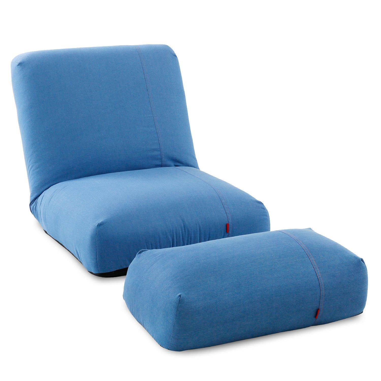 LOWYA (ロウヤ) 座椅子 オットマン付 リクライニング 42段ギア ポケットコイル ソファー 1人掛け ブルー おしゃれ 新生活 B0711MN23L  ブルー