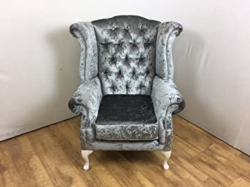 Merveilleux Steel Grey Crushed Velvet Queen Anne Wing Chair With Silver Studs