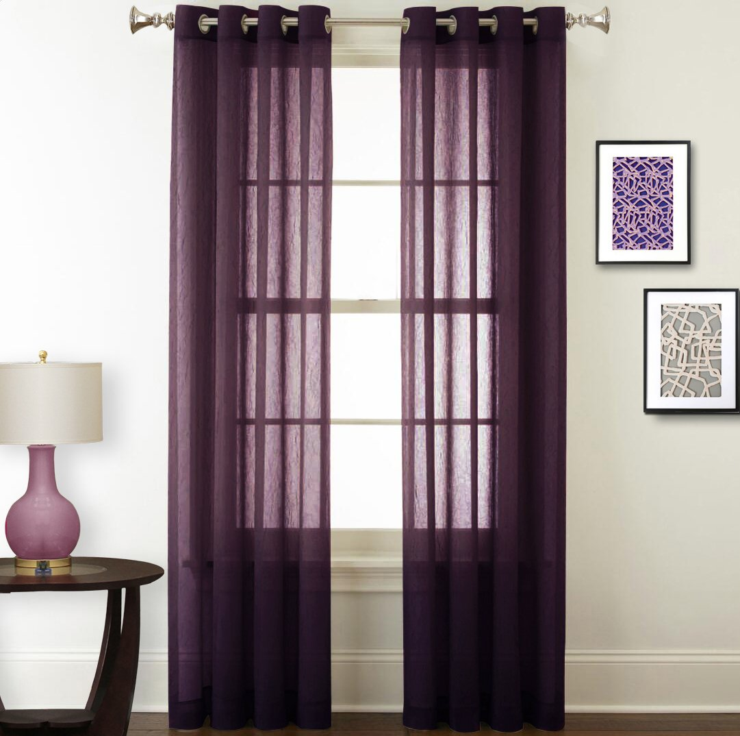Nicetown Sheer Curtains Panels / Drapes - Light Filtering Crushed Sheer Window Curtain Panels Voile Drape With Grommet Top