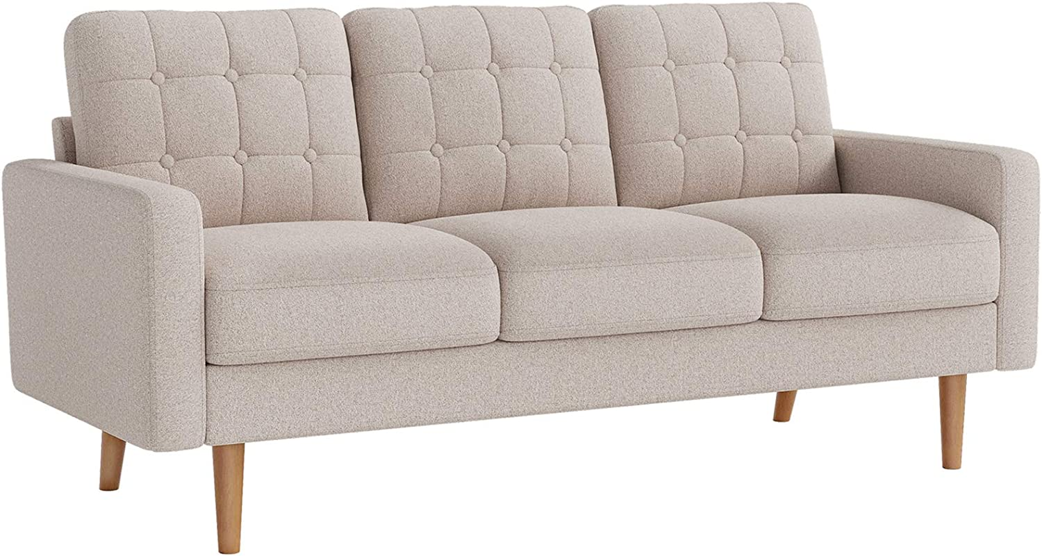 VASAGLE Sofa, Couch for Living Room Modern Upholstered, Soft Surface, for Apartment Small Space Dorm, Solid Wood Frame and Legs, 71.7 x 31.7 x 33.1 Inches, Beige ULCS101M01