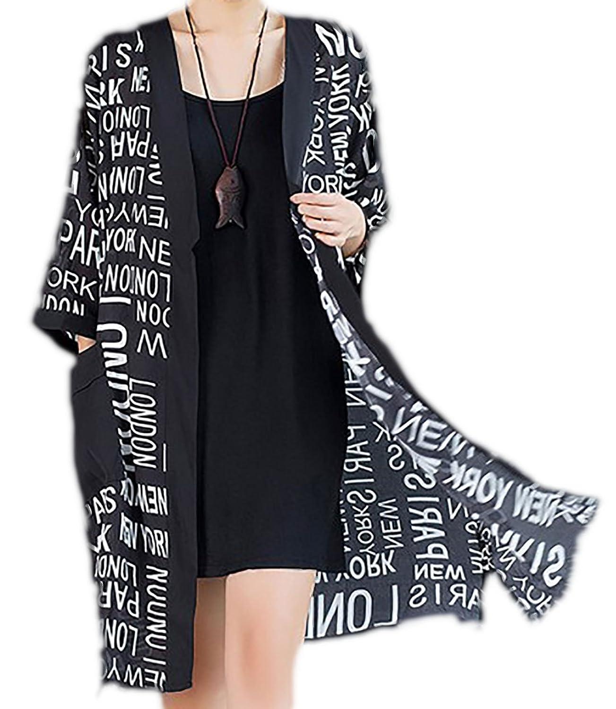 erdbeerloft - Damen Chiffonartige Langjacke mit Schriftzug, One Size, Schwarz-Weiß